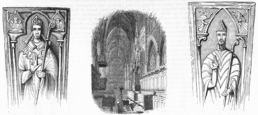 Associate Product EXETER. Bishops Marshall, Bartholomew; cathedral 1845 old antique print