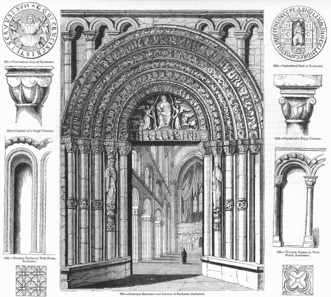 Associate Product ROCHESTER CATHEDRAL. Entry, seal, recess, tile, capital 1845 old antique print