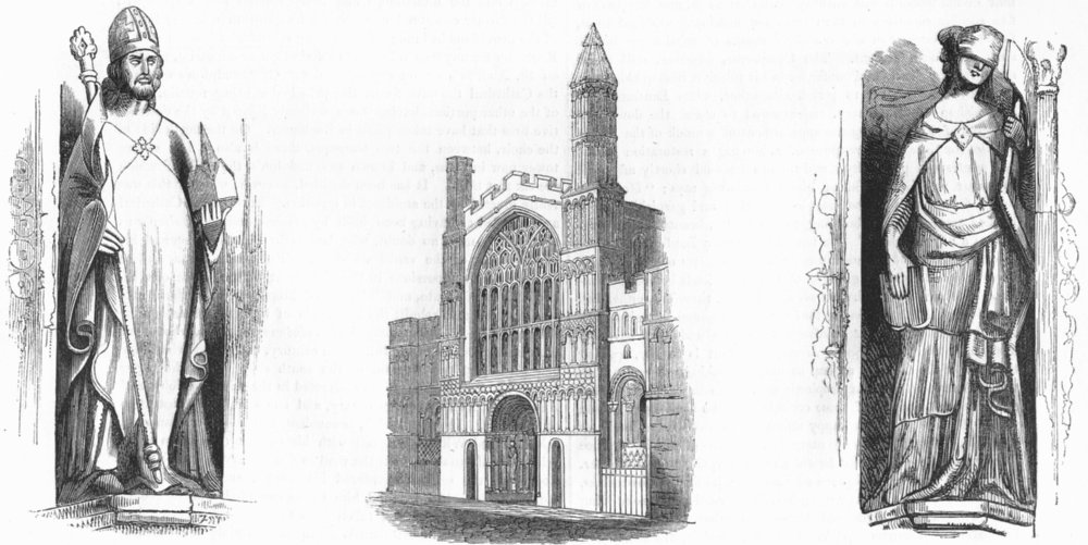 ROCHESTER. Cathedral, Augustine, mosaic dispensation 1845 old antique print