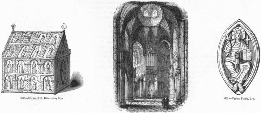 Associate Product ELY. St Ethelreda shrine; Cathedral; Vesica Piscis  1845 old antique print