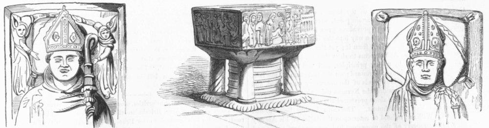 Associate Product WINCHESTER. Head of Waynflete; Font; Effigy Wyckham  1845 old antique print