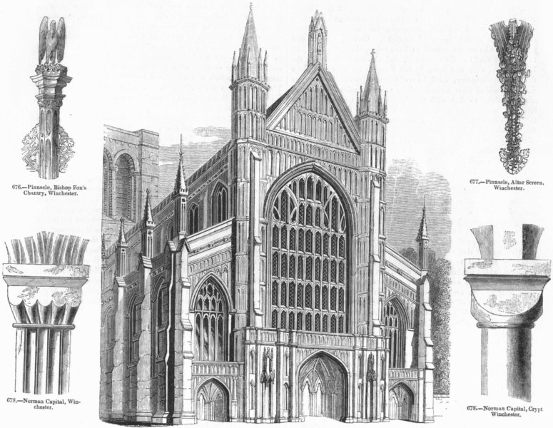 Associate Product WINCHESTER. Cathedral; capitals; pinnacle-fox chantry 1845 old antique print