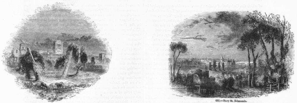 SUFFOLK. Bury St Edmunds;  1845 old antique vintage print picture