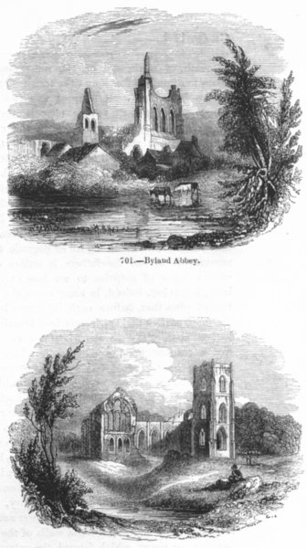 Associate Product YORKS. Byland Abbey ; Fountains Abbey 1845 old antique vintage print picture
