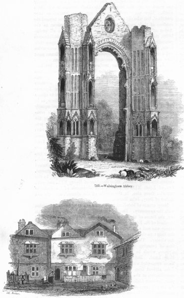 Associate Product NORFOLK. Walsingham Abbey; Bermondsey convent 1845 old antique print picture