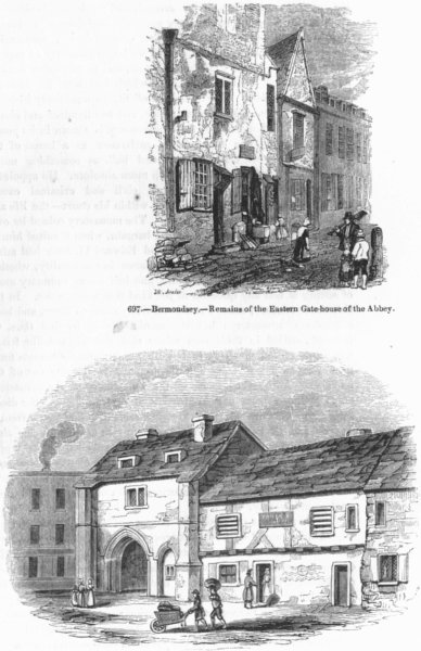 Associate Product BERMONDSEY. Remains of Abbey & East gate house 1845 old antique print picture