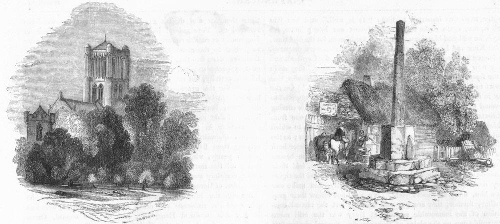 Associate Product WORCS. Pershore ; Cross near Pershore 1845 old antique vintage print picture