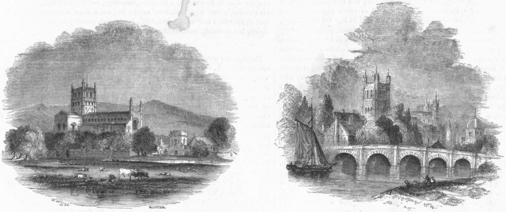 Associate Product GLOS. Tewkesbury ; Tewkesbury 1845 old antique vintage print picture