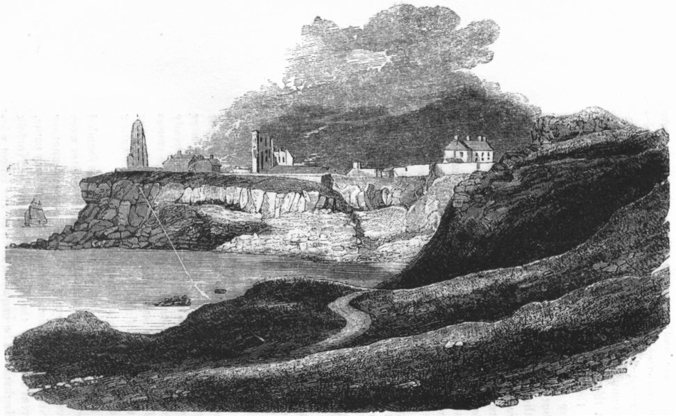 Associate Product NORTHUMBS. Tynemouth Cliff 1845 old antique vintage print picture