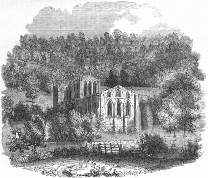 Associate Product YORKS. The Abbey of Rievaulx 1845 old antique vintage print picture