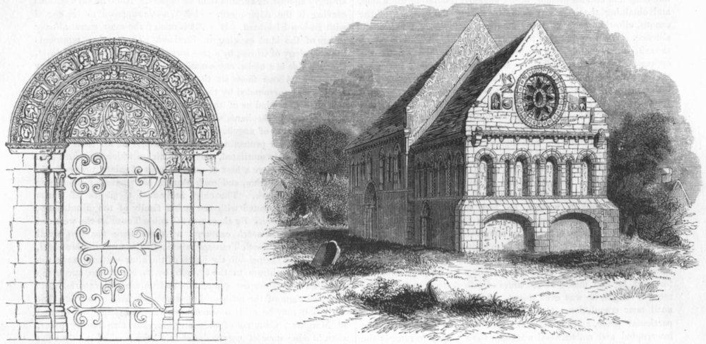 Associate Product KENT. Door of Barfreston Church;  1845 old antique vintage print picture