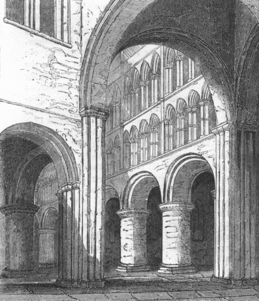 Associate Product CHESHIRE. St John's, Chester 1845 old antique vintage print picture