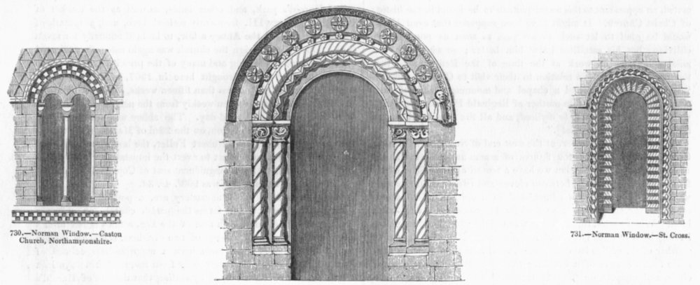 Associate Product NORMAN WINDOWS. Caston, Northants, St Cross; Romsey 1845 old antique print