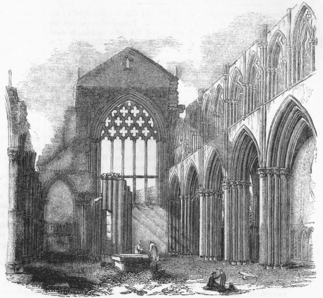 Associate Product SCOTLAND. Interior of Holyrood Chapel 1845 old antique vintage print picture