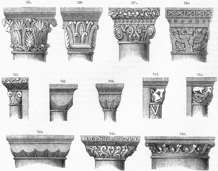 Associate Product NORMAN CAPITALS. Jumieges, Sanson, Steetly, Rochester 1845 old antique print