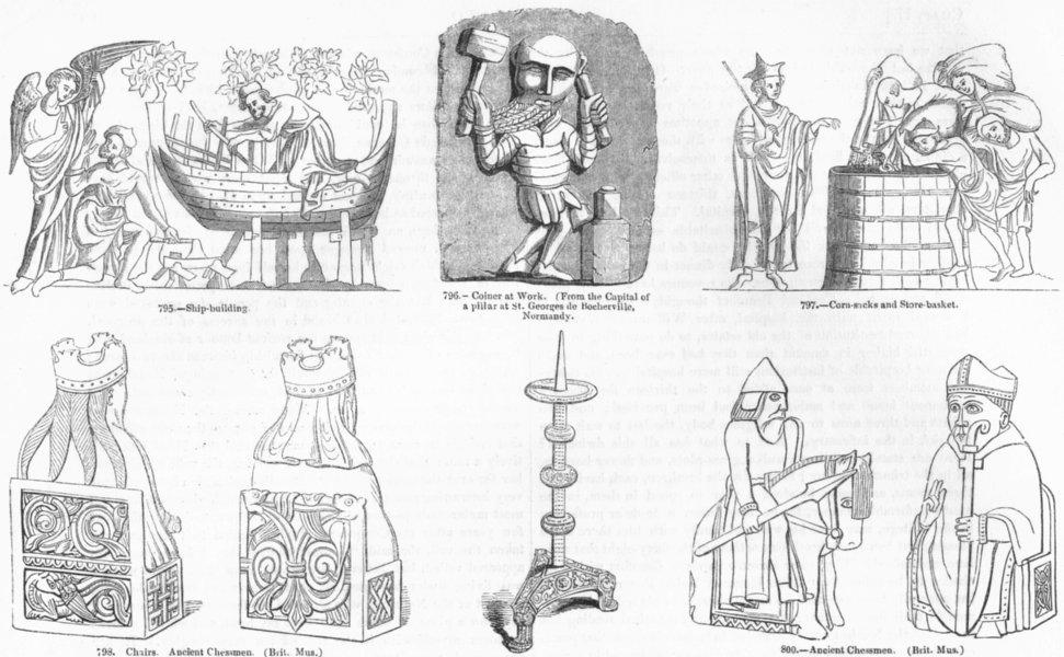 Associate Product DECORATIVE. Shipbuilding; Coiner; Corn store; Chessmen 1845 old antique print