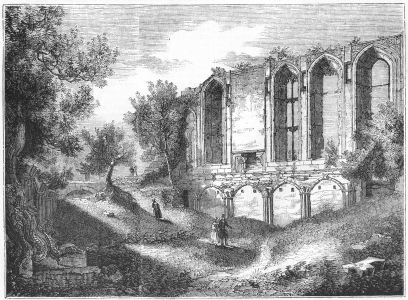 Associate Product WARCS. Great Hall, Kenilworth 1845 old antique vintage print picture