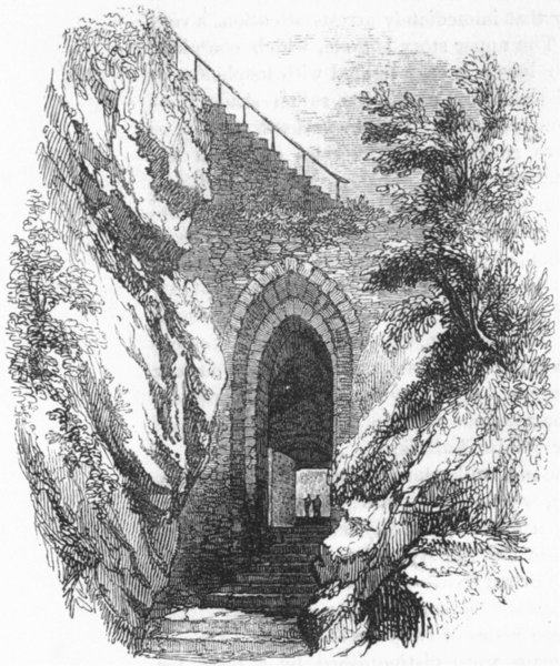 Associate Product DUNBARTON. Gate betwixt upper & lower Castle 1845 old antique print picture