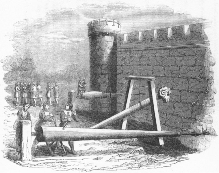 Associate Product SIEGES. Boring Machines for Battering-Rams 1845 old antique print picture