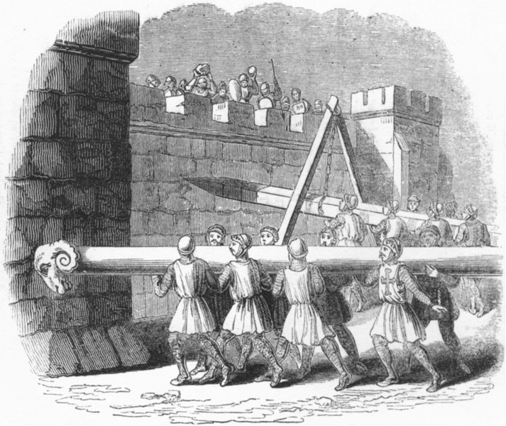 Associate Product SIEGES. Battering-Ram in use 1845 old antique vintage print picture
