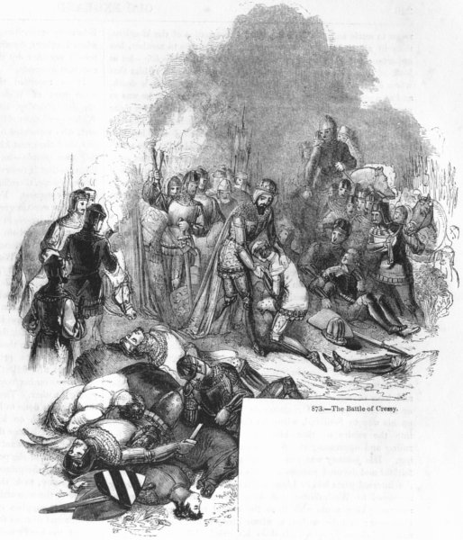 Associate Product FRANCE. The Battle of Crecy 1845 old antique vintage print picture