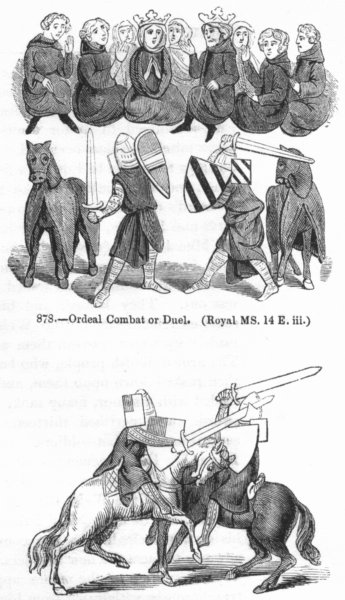 MILITARIA. Ordeal Combat or duel; Knights combating 1845 old antique print