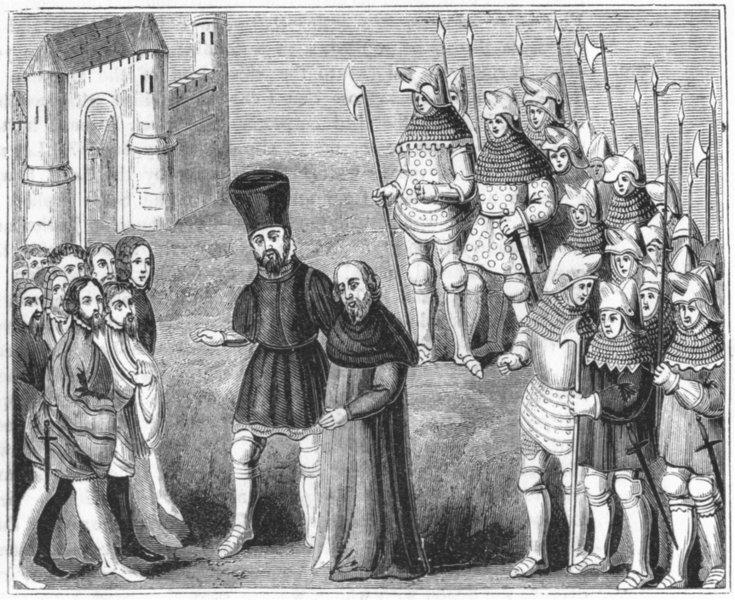 Associate Product LONDON. Richard II & Bolingbroke arrived  1845 old antique print picture