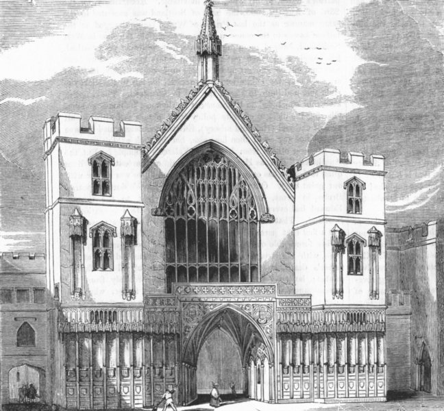 Associate Product LONDON. Main entry to Westminster Hall 1845 old antique vintage print picture