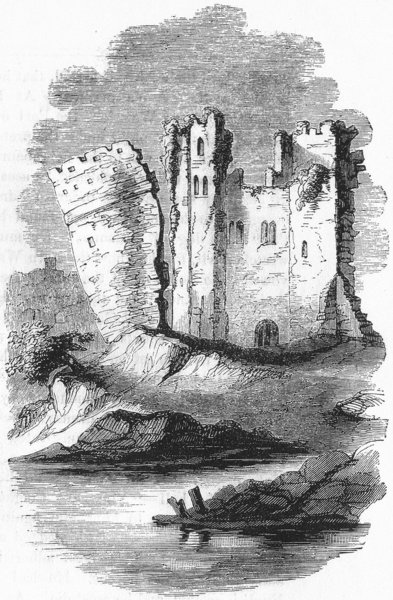 Associate Product WALES. Leaning Tower of Caerphilly 1845 old antique vintage print picture