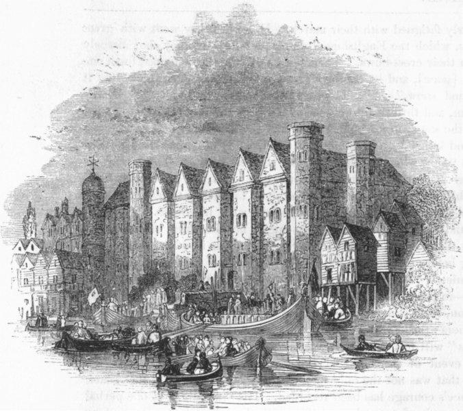 Associate Product CASTLES. Baynard's Castle 1845 old antique vintage print picture