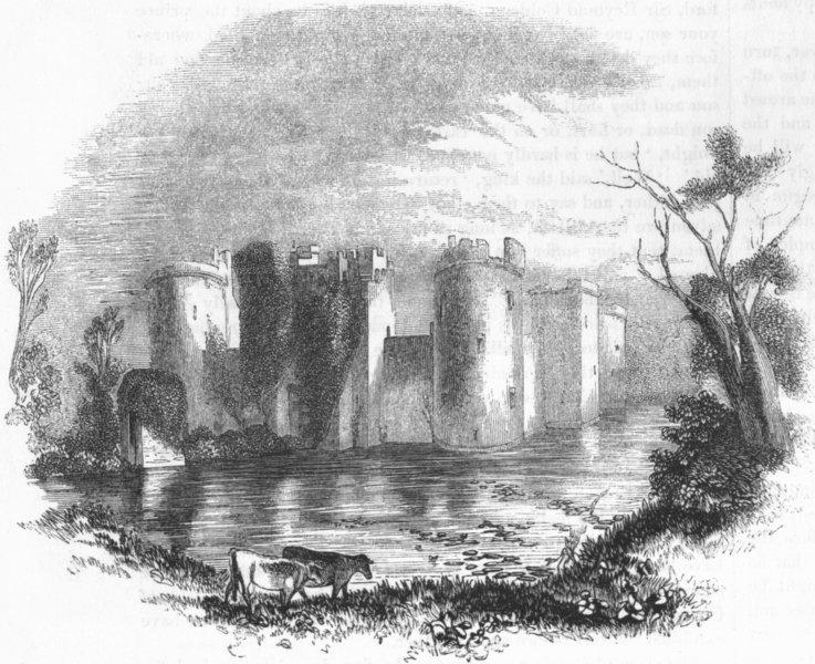 Associate Product SUSSEX. Bodiam Castle, Sussex 1845 old antique vintage print picture