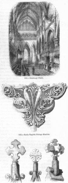 SALISBURY. Choir; Foliage Bracket; Gable Crosses 1845 old antique print