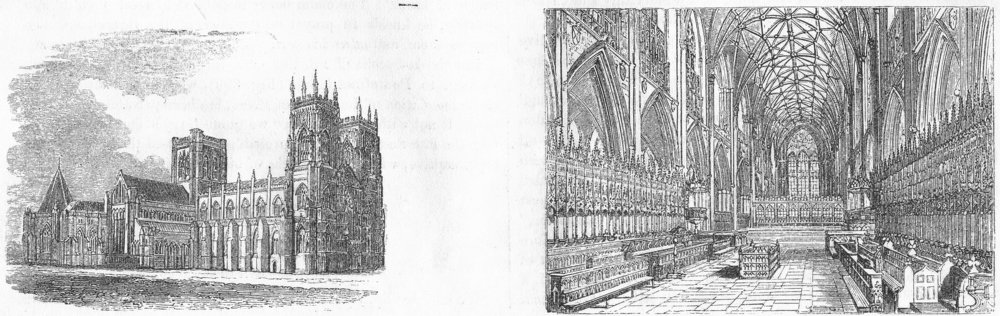 Associate Product YORKS. York, general view ; Choir, York 1845 old antique vintage print picture