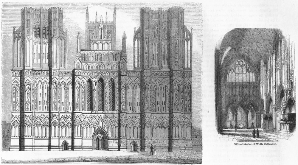 SOMT. Cathedral of Wells;  1845 old antique vintage print picture