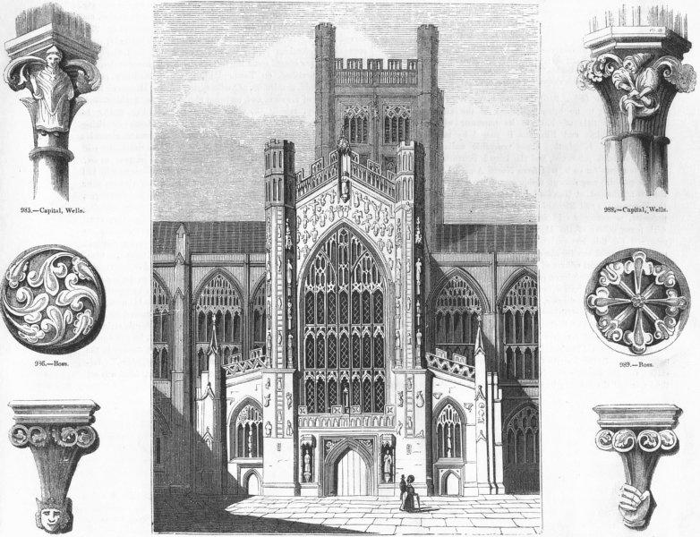 Associate Product BATH ABBEY. Church; Capital, Wells; Boss; Bracket;  1845 old antique print