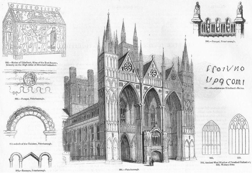 Associate Product PETERBOROUGH. Cathedral, Ethelbert shrine, parapet 1845 old antique print