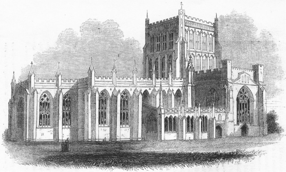 Associate Product GLOS. Bristol Cathedral 1845 old antique vintage print picture