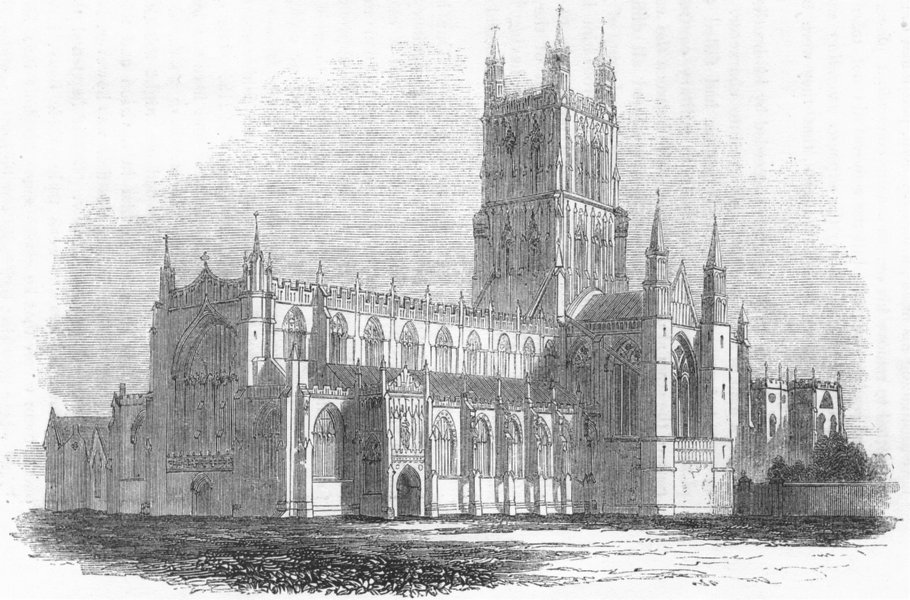 GLOS. Gloucester Cathedral 1845 old antique vintage print picture