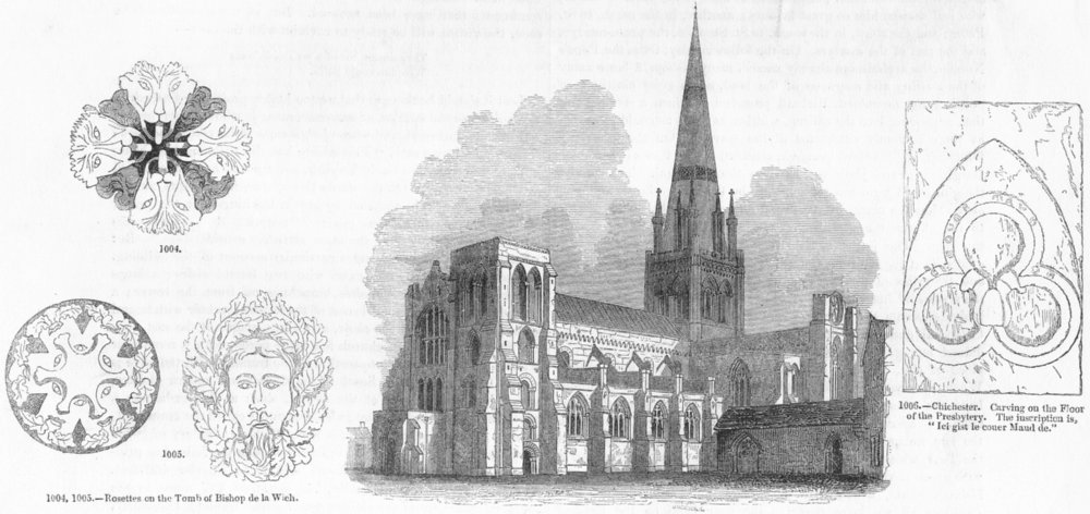 Associate Product CHICHESTER. Cathedral, rosettes, carving 1845 old antique print picture
