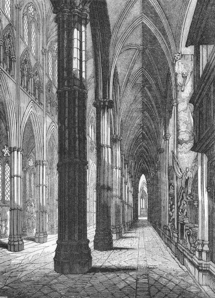 Associate Product LONDON. Westminster Abbey North Aisle, looking west 1845 old antique print