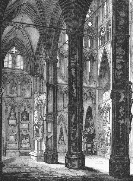 Associate Product LONDON. Poets Corner, Westminster Abbey 1845 old antique vintage print picture