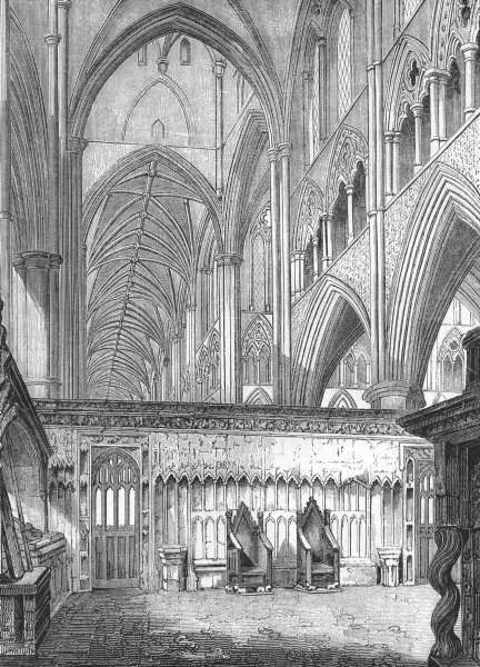Associate Product LONDON. Nave, Westminster Abbey, looking west 1845 old antique print picture