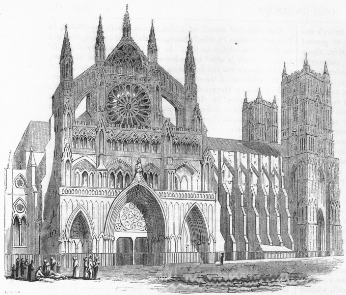 Associate Product LONDON. North Transept, Westminster Abbey 1845 old antique print picture
