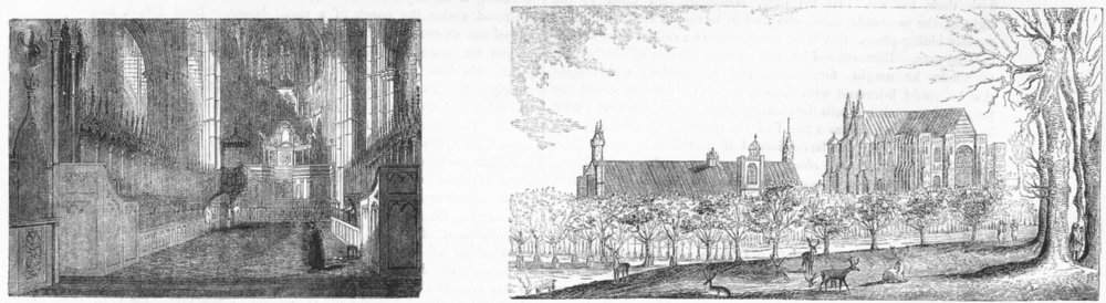 Associate Product WESTMINSTER ABBEY. Choir; & Hall, 17th Century 1845 old antique print picture