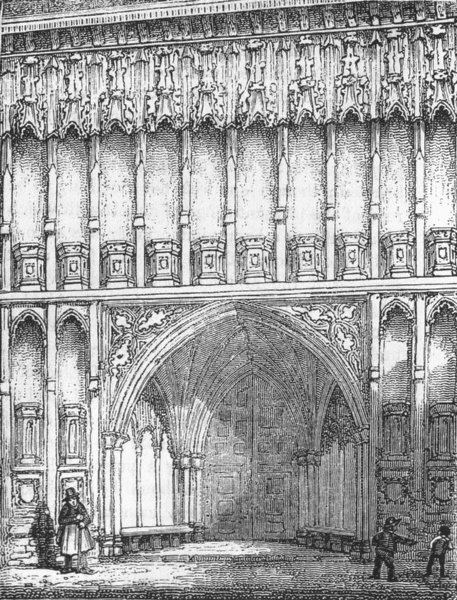 Associate Product LONDON. Westminster Abbey, West entry 1845 old antique vintage print picture