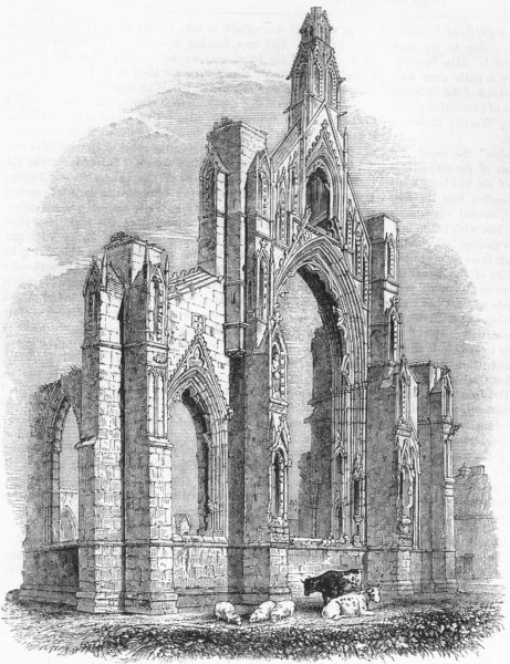 Associate Product YORKS. Howden Church 1845 old antique vintage print picture