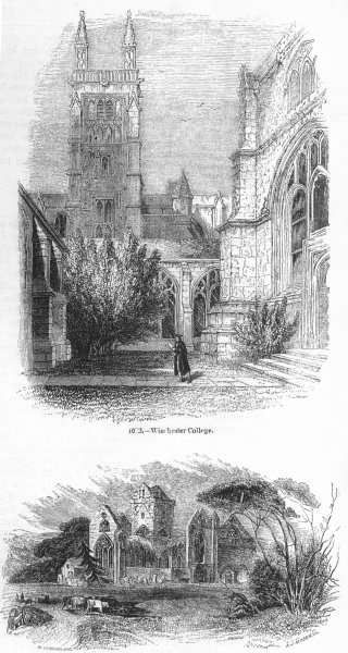 WINCHESTER. College; New Abbey, Kirkcudbrightshire  1845 old antique print