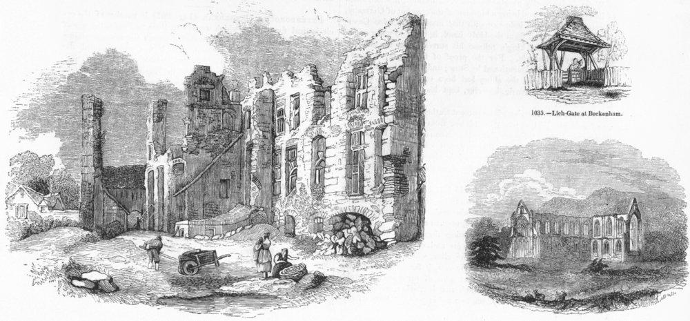 LEICS. Leicester Abbey; Lich gate, Beckenham; Tintern 1845 old antique print