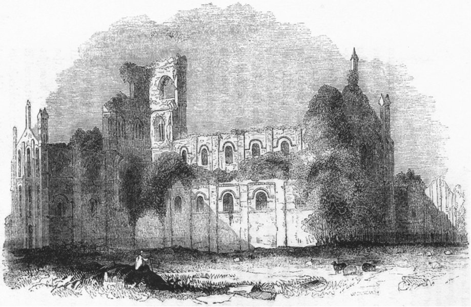 Associate Product YORKS. Kirkstall Abbey 1845 old antique vintage print picture
