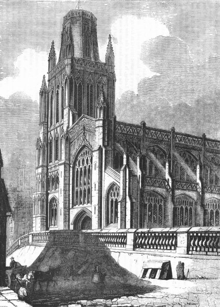 Associate Product GLOS. Redcliff Church, Bristol 1845 old antique vintage print picture